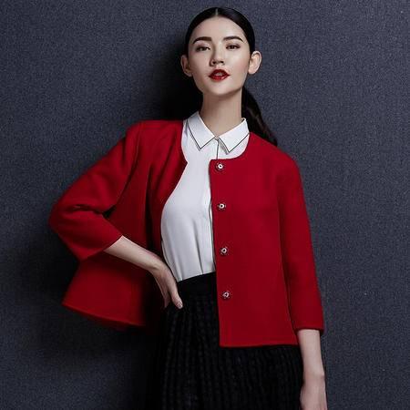 安柘娜 双面绒大衣 韩版圆领女士羊毛大衣毛呢外套短款女装K1634