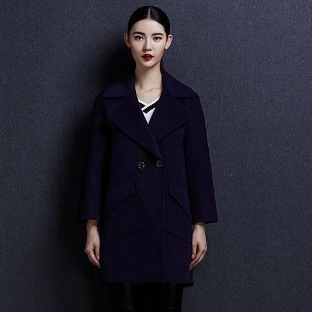 安柘娜 纯色呢子大衣双面绒羊毛大衣毛呢外套女中长款 女装K1641