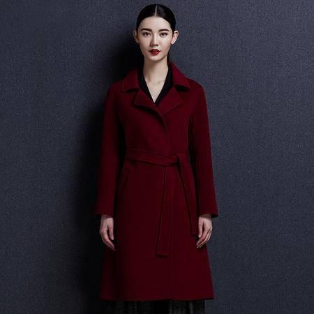 安柘娜 双面绒羊毛大秋 冬纯色呢子大衣韩版毛呢外套女中长款女装 K1647