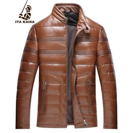 意大利凯撒 绵羊皮男士真皮羽绒服时尚休闲凯撒真皮皮衣夹克外套男 1502