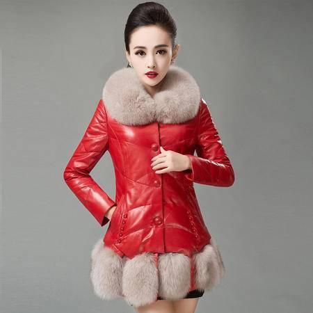 安柘娜 真皮羽绒服 狐狸毛领绵羊皮皮衣 AD270
