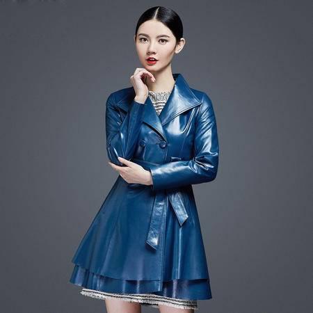 安柘娜  新款绵羊皮风衣裙摆式 皮衣中长款  真皮皮衣外套 K2224