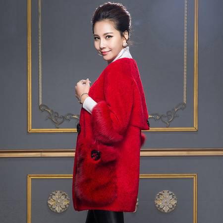 安柘娜 皮毛一体大衣女水波纹V领中长款羊羔毛皮草外套 K2166