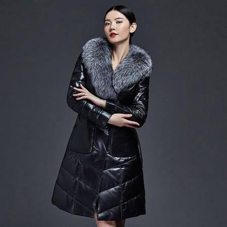 安柘娜  真皮羽绒服  绵羊皮真皮皮衣 K2233