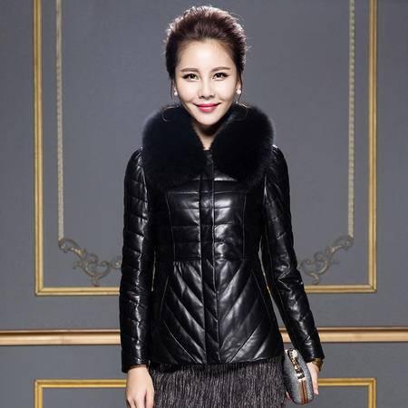 安柘娜 海宁绵羊皮皮衣修身 真皮羽绒服女短款 K2275
