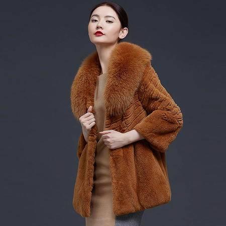安柘娜  兔毛皮草外套 中长款女装大衣厚k2156