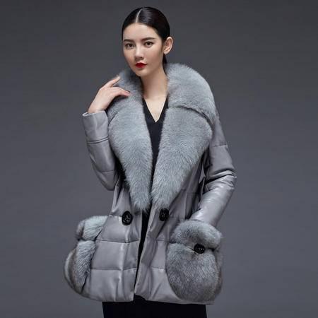 安柘娜  真皮羽绒服中长款 狐狸毛领绵羊皮衣 K2211