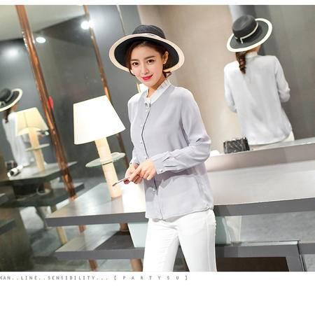 阿诗璐雪纺花领时尚气质款女款长袖衬衫565