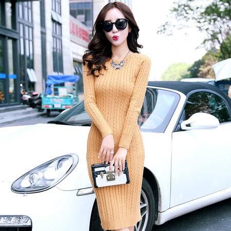 阿诗璐长袖修身显瘦毛衣裙外套秋冬高领款连衣裙1308(1308)