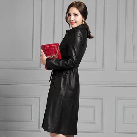 安柘娜绵羊皮大衣皮衣外套女中长款真皮皮衣 K22189
