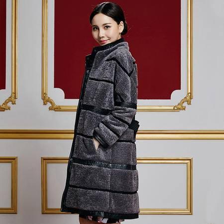 安柘娜 羊剪绒中长款皮草大衣羊羔毛皮草外套女 K21152