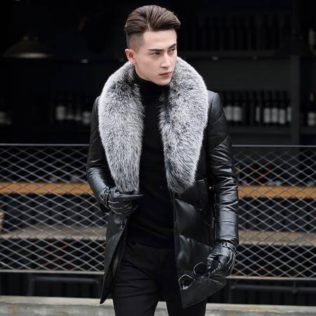 意大利凯撒 真皮皮衣羽绒服中长款男狐狸毛领翻领男外套 AD16-N911