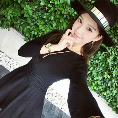 阿诗璐 长袖收腰连衣裙  针织衫打底衫 1636