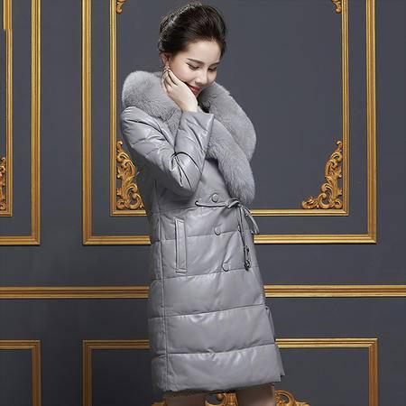 安柘娜 绵羊皮真皮中长款羽绒服大衣 K2260-R1
