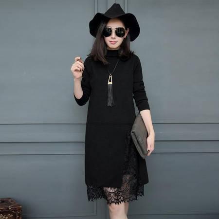 阿诗璐 假两件蕾丝针织连衣裙 962