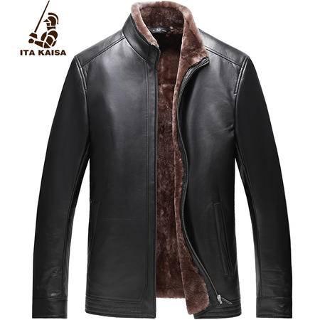 意大利凯撒皮毛一体真皮皮衣真皮加厚保暖尼克服外套 1623