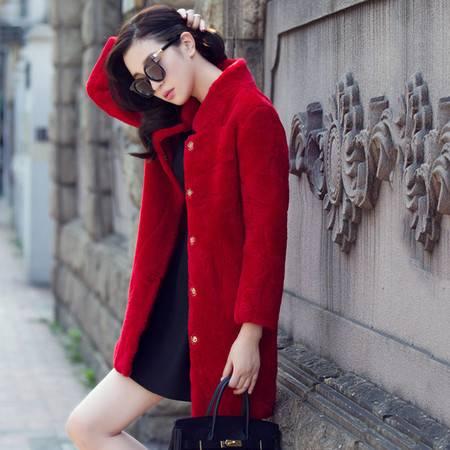 安柘娜皮毛一体外套女中长款羊剪绒皮草 K21114