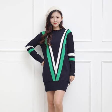 阿诗璐 韩版时尚休闲中长款针织衫线衣 1686