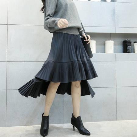 阿诗璐 天丝麻荷叶裙摆半身裙 不规则半身裙 1687