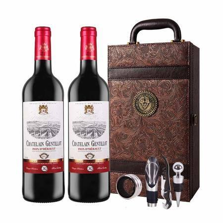 法国原瓶进口红酒 杰特罗干红葡萄酒 凤尾礼盒装