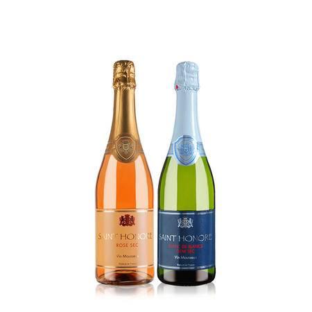法国原瓶进口 桑特诺薇桃红/白起泡酒 双支组合装