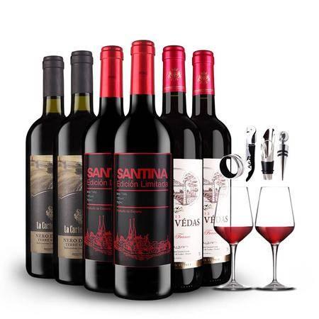 【年底特惠】法国意大利西班牙三国风情组合 3*2*750ml 送双支高档酒杯+一份酒具四件套