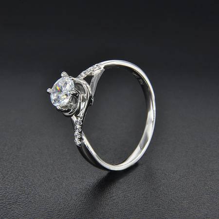 永恒世家围绕镶嵌18K白金钻石显大工艺女戒钻戒-蔷薇之恋