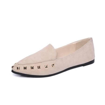 mssefn2016 春款 铆钉 尖头 平底 女单鞋