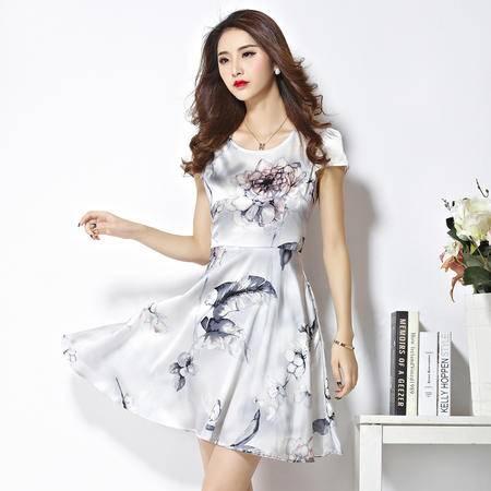 mssefn2016新款修身圆领印花中长款高档桑蚕丝 真丝连衣裙夏