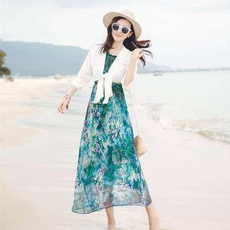 MSSEFN  2016夏装新款连衣裙雪纺印花沙滩裙长裙纯色披肩两件套