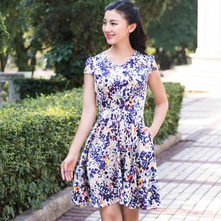 mssefn2016夏季韩版新款时尚女装碎花真丝短袖中长款连衣裙Y
