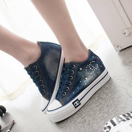 mssefn 水钻 帆布 内增高3cm 厚底2CM 牛仔布鞋女单鞋