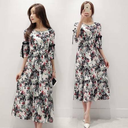 mssefn2016夏季新款韩版学院小香风短袖印花修身连衣裙女