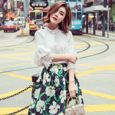 MSSEFN  2016夏季韩版新品淑女气质五分袖上衣印花半身裙两件套