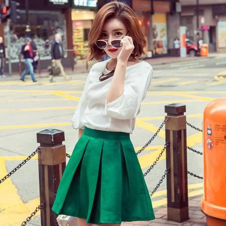 MSSEFN  2016夏季韩版新品淑女气质五分袖上衣A字半身裙两件套