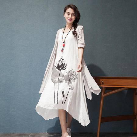 MSSEFN  2016夏中国风长袖棉麻连衣裙长裙两件套宽松大码亚麻裙套