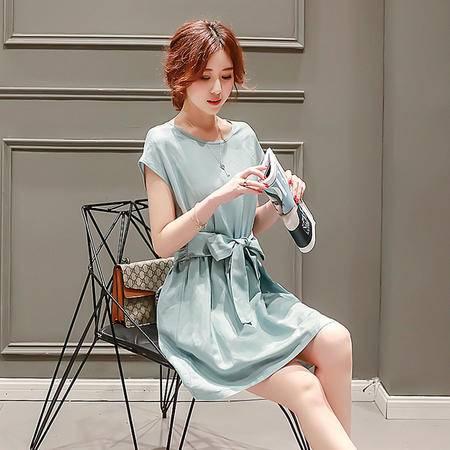 MSSEFN2016夏季新款女装韩版显瘦中长款裙子圆领短袖连衣裙