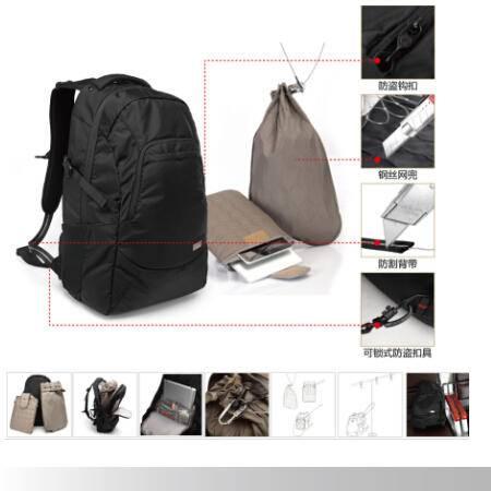 壳罗沃牛津纺黑色壳罗卫士A防盗双肩包旅行休闲电脑背包30LKGJ304A1