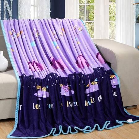 约克罗兰精品家纺 金貂绒毯-五彩斑斓 花雨伞优生活