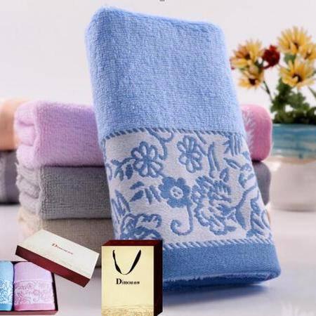 迪穆精品毛巾:色织提花大毛巾双条礼盒装 DM-8002