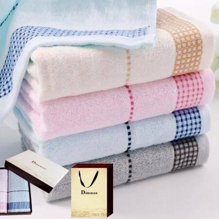 迪穆精品毛巾: 素色提缎大毛巾双条礼盒装DM-6002X
