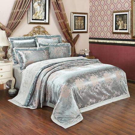 约克罗兰竹棉提花床上用品四件套-春泥蓝金 包邮