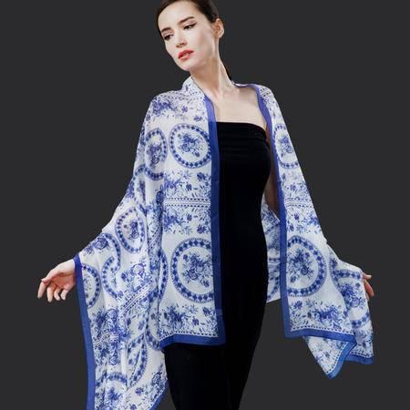 唐帛秋冬新品中国风女士真丝长巾 长款桑蚕丝青花瓷围巾披肩