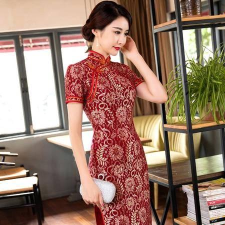 唐帛 秋冬款蕾丝中长款修身短袖旗袍(5200140)包邮