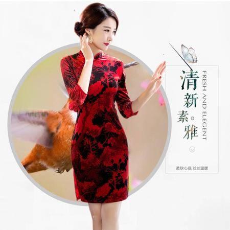 唐帛 日常宴会改良款丝绒中袖修身旗袍(5000130)包邮