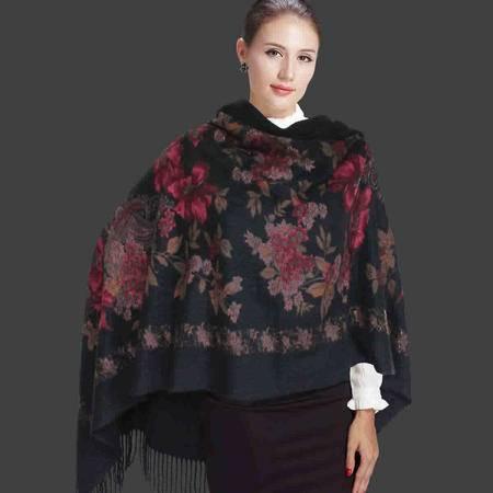 唐帛 秋冬新品女士羊毛围巾长款羊毛披肩黑色围巾(160980150)包邮