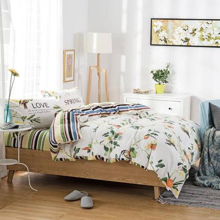 约克罗兰 精梳高支高密全棉活性印花四件套床品--回归自然 包邮
