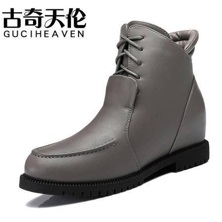 古奇天伦2015秋冬季新款英伦内增高短靴女靴平底马丁靴雪地靴潮鞋8266