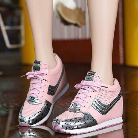 莫蕾蔻蕾5Q011秋季厚底内增高平底休闲鞋时尚单鞋女松糕鞋运动鞋女鞋
