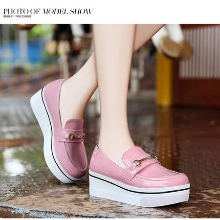 莫蕾蔻蕾5Q003秋季中跟松糕鞋坡跟懒人套脚时尚休闲女鞋单鞋厚底乐福鞋